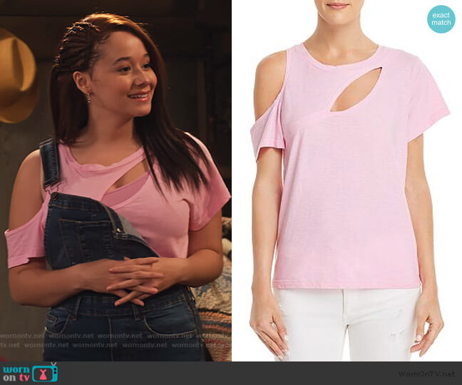 Bloom Cutout Tee by LNA worn by Jade (Talia Jackson) on Family Reunion