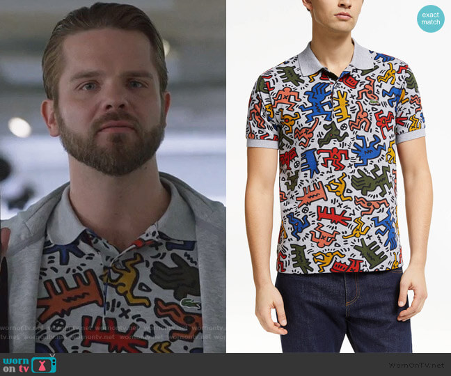Allover Print Polo Shirt by Lacoste x Keith Haring worn by T.J. Linnard on Good Trouble