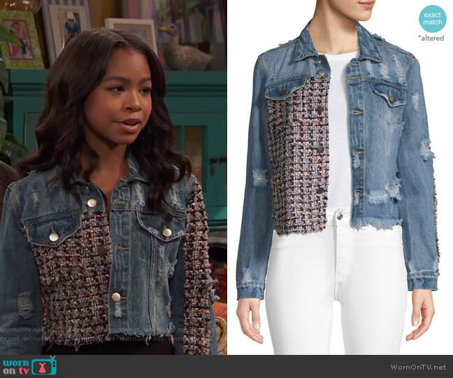 Distressed Cropped Denim Jacket by Lea & Viola worn by Nia Baxter (Navia Robinson) on Ravens Home