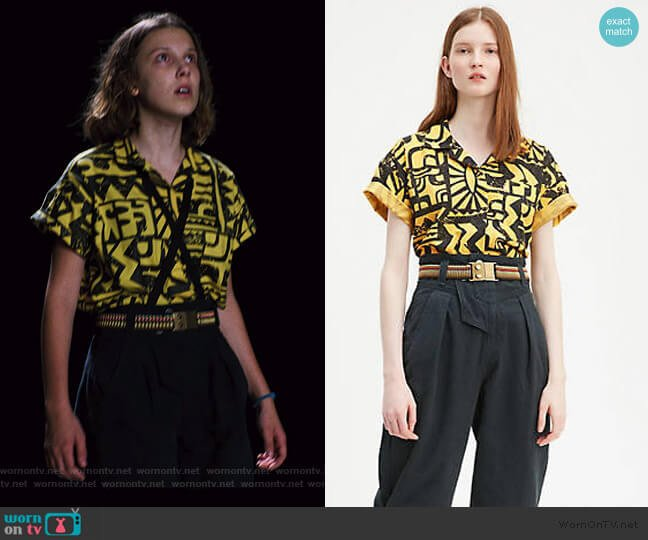 X Stranger Things El Aztec Shirt by Levis worn by Eleven (Millie Bobby Brown) on Stranger Things