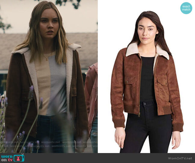 Faux Leather Sherpa Aviator Bomber Jacket by Levi's worn by McKenna Brady (Liana Liberato) on Light as a Feather