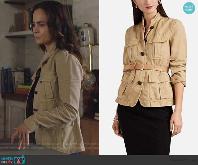 Cambre Cotton-Linen Field Jacket by Nili Lotan worn by Teresa Mendoza (Alice Braga) on Queen of the South