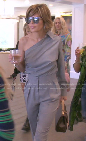 Lisa's grey one-shoulder top and pants  on The Real Housewives of Beverly Hills