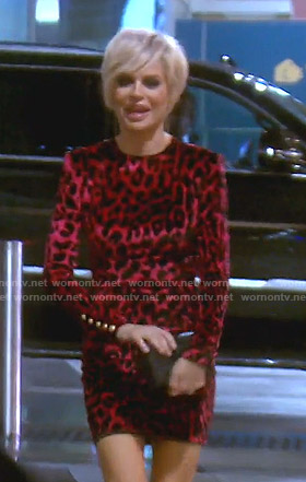 Liza's red leopard print dress on The Real Housewives of Beverly Hills
