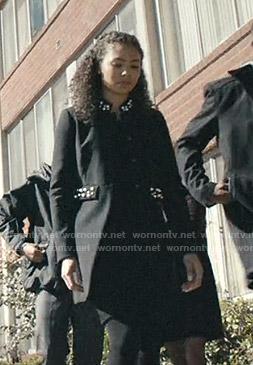 Live's black pearl embellished coat on Scream