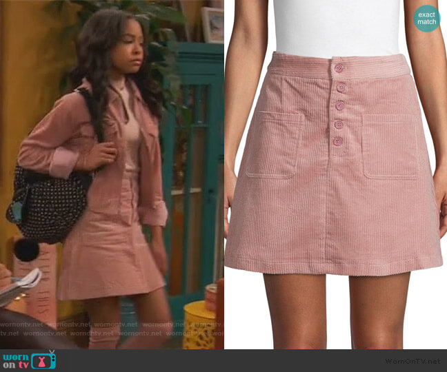 Corduroy Mini Skirt by Lost + Wander worn by Nia Baxter (Navia Robinson) on Ravens Home