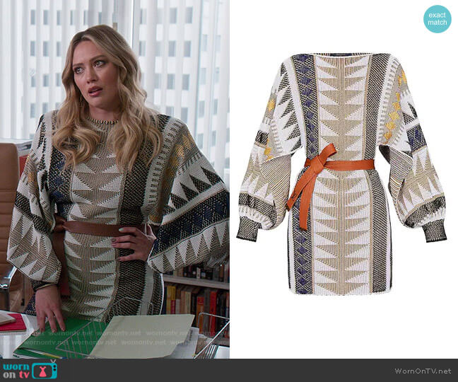 Jacquard Knit Dress with Open Sleeves by Louis Vuitton worn by Kelsey Peters (Hilary Duff) on Younger