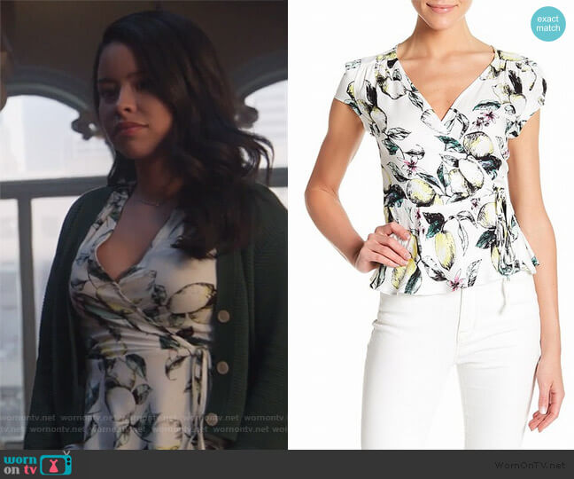 Faux-Wrap Lemon-Printed Blouse by Love Fire worn by Mariana Foster (Cierra Ramirez) on Good Trouble