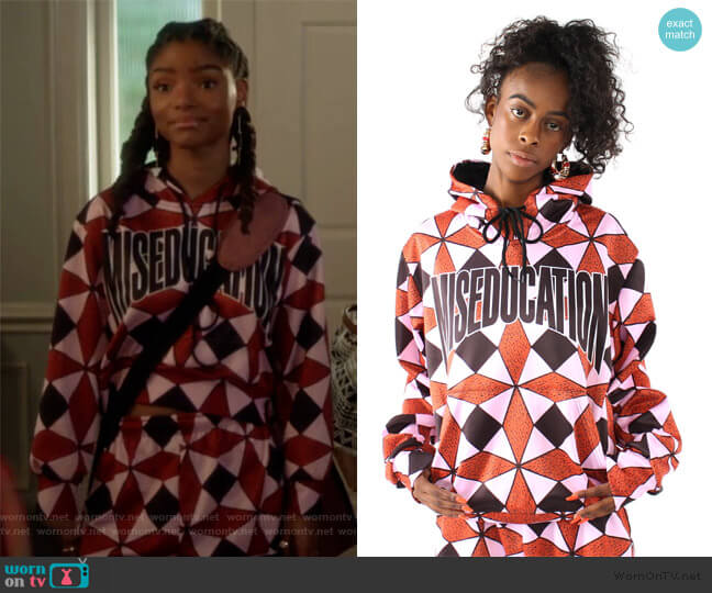 Ex Factor Diamond Print Hoodie and sweatpants by Melody Ehsani worn by Skylar Forster (Halle Bailey) on Grown-ish