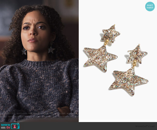 Glitter Star Statement Earrings by Madwell worn by Tabitha Foster (Quintessa Swindell) on Trinkets