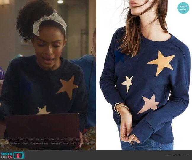 Navy Blue Star Print Sweatshirt by Madewell worn by Zoey Johnson (Yara Shahidi) on Grown-ish