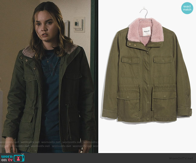 Sherpa-Trimmed Surplus Jacket by Madwell worn by McKenna Brady (Liana Liberato) on Light as a Feather
