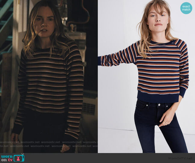 Shrunken Sweatshirt in Vicky Stripe by Madewell worn by McKenna Brady (Liana Liberato) on Light as a Feather