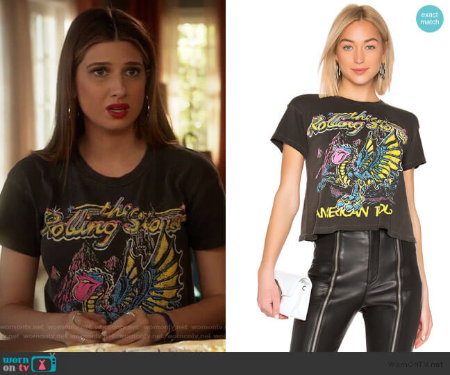The Rolling Stones American Tour Tee by Madeworn worn by Nomi Segal (Emily Arlook) on Grown-ish