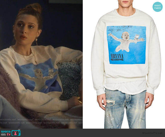 Nirvana Nevermind Distressed Sweatshirt by Madeworn worn by Nomi Segal (Emily Arlook) on Grown-ish