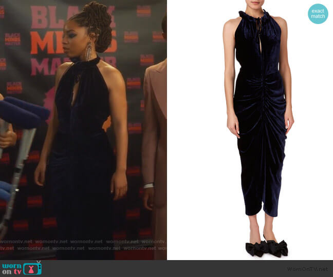 Hilo Ruched Velvet Halter Midi Dress by Magda Butrym worn by Jazlyn Forster (Chloe Bailey) on Grown-ish
