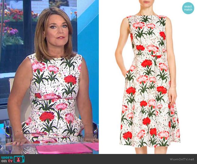 Maia Floral-Print Midi Dress by Erdem worn by Savannah Guthrie  on Today