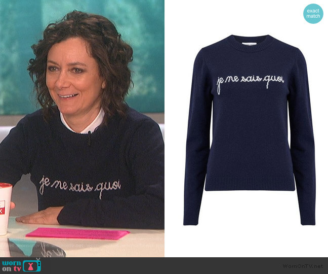 Blue Je Ne Sais Quoi Sweater by Maison Labiche worn by Sara Gilbert  on The Talk