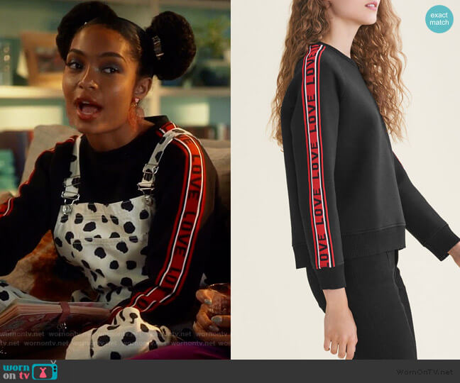 Love cotton-blend sweatshirt by Maje worn by Zoey Johnson (Yara Shahidi) on Grown-ish