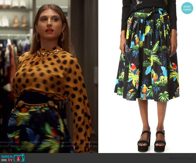 Parrot Belted Full Skirt by Marc Jacobs worn by Nomi Segal (Emily Arlook) on Grown-ish