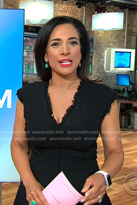 Michelle's black v-neck tweed dress on CBS This Morning