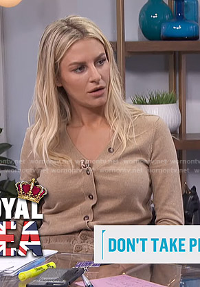 Morgan's beige cardigan and corduroy skirt on E! News Daily Pop