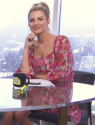 Morgan's metallic floral dress on E! News Daily Pop