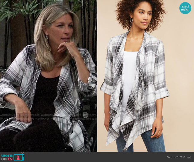 Motherhood 2-In-1 Button Closure Nursing Cardigan worn by Carly Corinthos (Laura Wright) on General Hospital