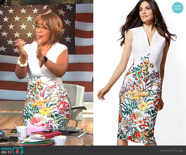 Floral V-Neck Sheath Dress by New York & Company worn by Gayle King  on CBS This Morning