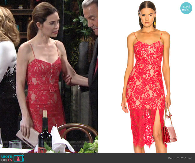 Nicholas Rubie Lace Bra Dress worn by Victoria Newman (Amelia Heinle) on The Young & the Restless