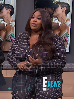 Nina's black grid check jumpsuit on E! News