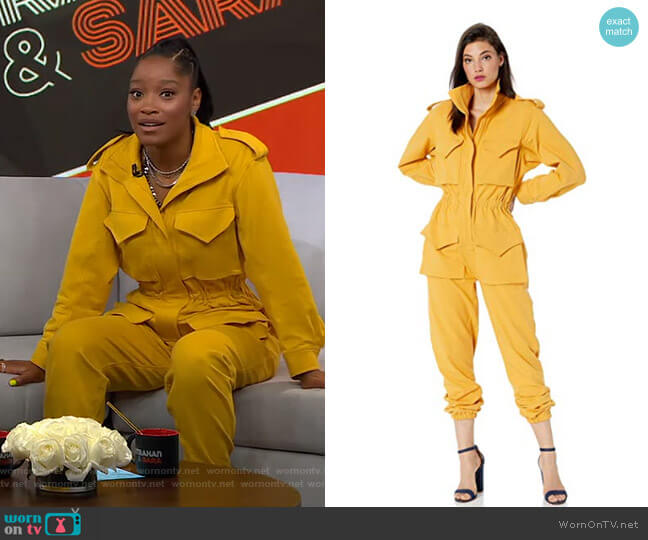 Turtle Cargo Jumpsuit by Norma Kamali worn by Keke Palmer  on Good Morning America
