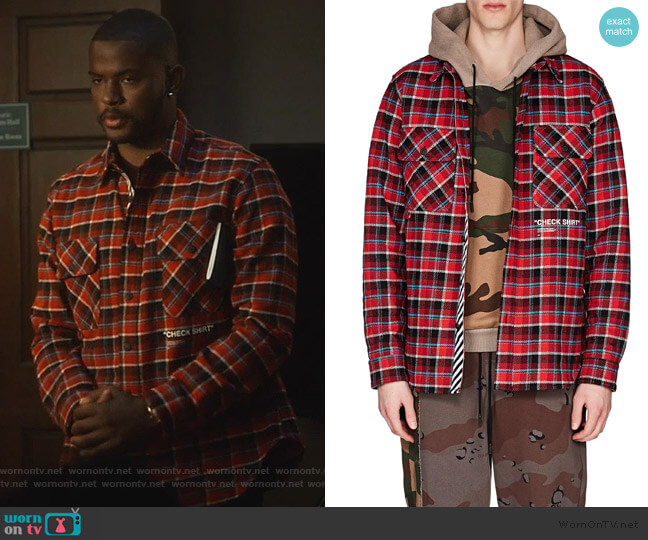 Cotton-Blend Flannel Shirt by Off-White c/o Virgil Abloh worn by Aaron Jackson (Trevor Jackson) on Grown-ish
