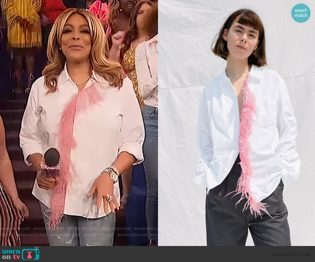 Dress Shirt with Pink Feather Detail by One DNA worn by Wendy Williams  on The Wendy Williams Show