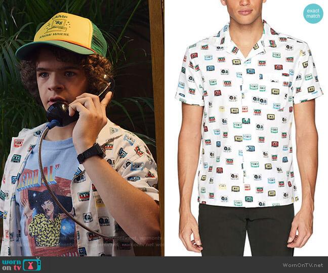 Short Sleeve Cassette Print Shirt by Original Penguin worn by Dustin (Gaten Matarazzo) on Stranger Things