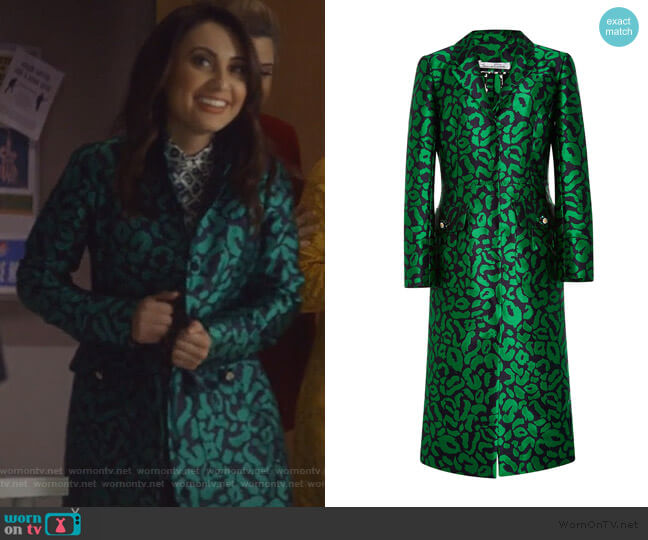 Leopard Satin Jacquard Coat by Oscar de la Renta worn by Ana Torres (Francia Raisa) on Grown-ish