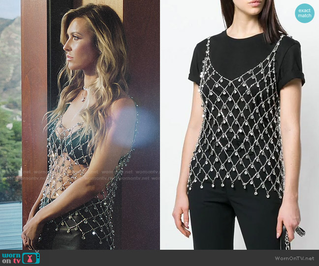Paco Rabanne Stone Embellished Fishnet Top worn by Audrina Patridge  on The Hills New Beginnings