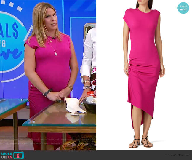 Hot Pink Ruched Dress by Paco Rabanne worn by Jenna Bush Hager  on Today