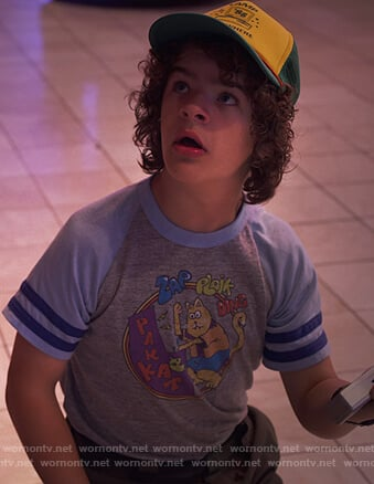 Dustin's cat print ranglan tee on Stranger Things