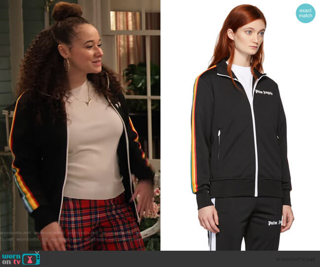 Black Rainbow Stripe Track Jacket by Palm Angles worn by Jade (Talia Jackson) on Family Reunion
