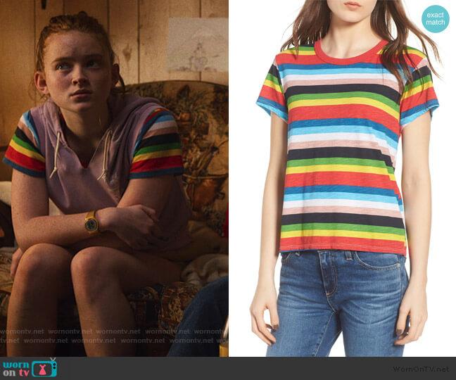 Rainbow Stripe Ringer Tee by Pam & Gela worn by Max (Sadie Sink) on Stranger Things