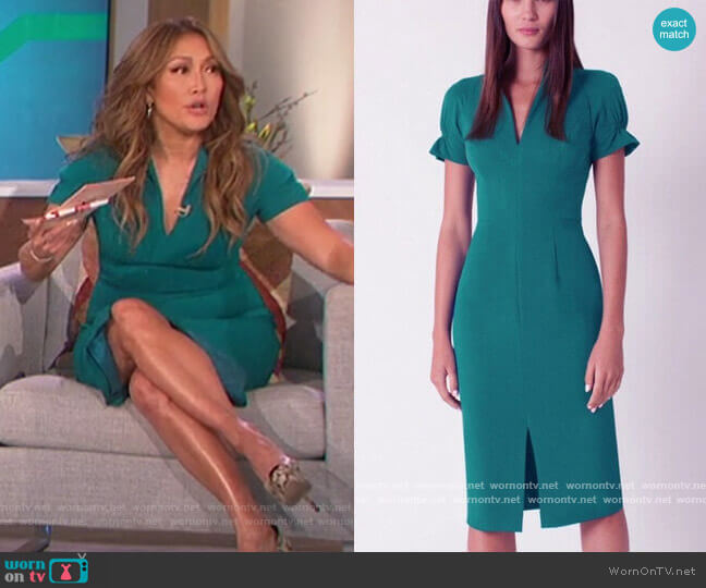 Patel Sheath Dress by Black Halo worn by Carrie Inaba  on The Talk