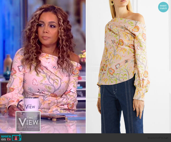 Printed Asymmetric Blouse by Peter Pilotto worn by Sunny Hostin  on The View