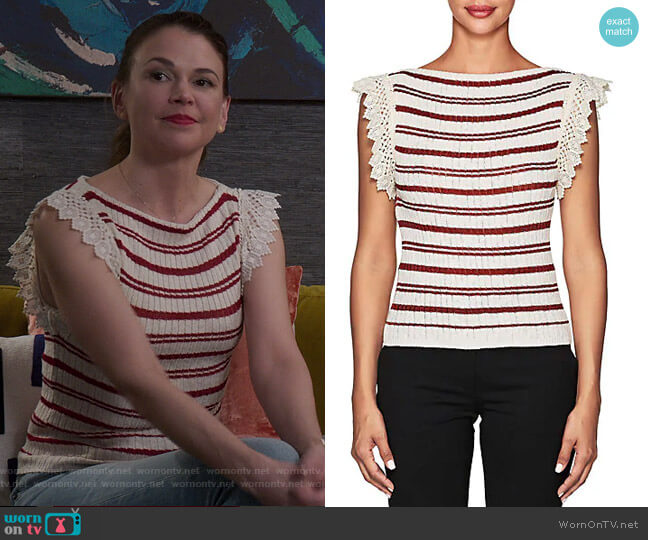 Crochet-Trimmed Striped Top by Philosophy di Lorenzo Serafini worn by Liza Miller (Sutton Foster) on Younger