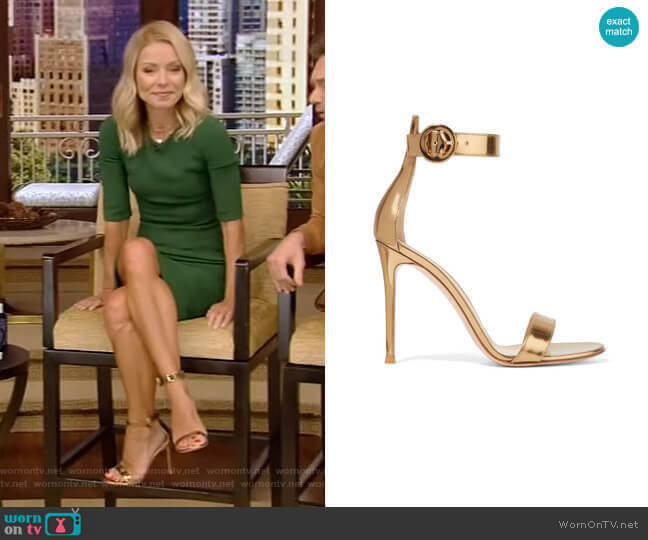 Portofino 105 Metallic Leather Sandals by Gianvito Rossi worn by Kelly Ripa  on Live with Kelly & Ryan