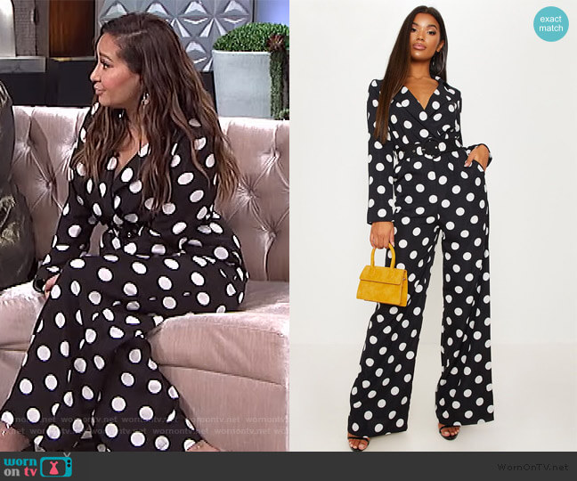 Monochrome Polka dot Jumpsuit on The Real worn by Adrienne Houghton  on The Real