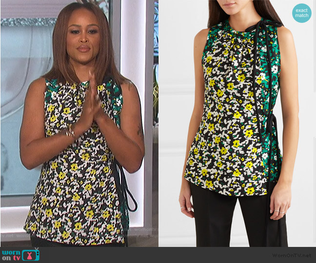 Floral-print crepe top by Proenza Schouler worn by Eve  on The Talk