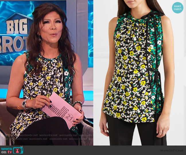Floral-print crepe top by Proenza Schouler worn by Julie Chen  on Big Brother