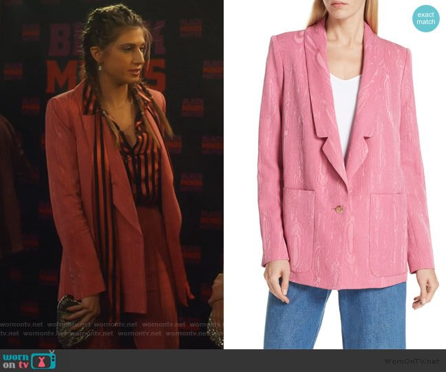 Lovely Wool Blend Moiré Blazer by Rachel Comey worn by Nomi Segal (Emily Arlook) on Grown-ish