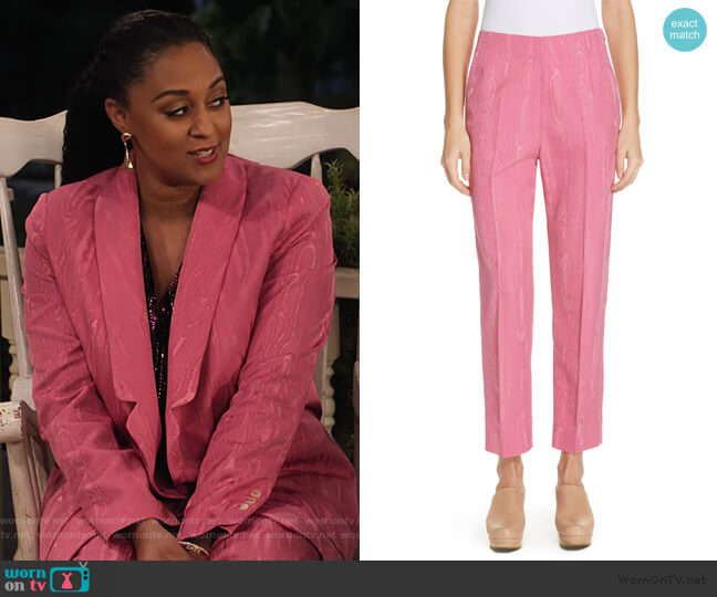 Prime Wool Blend Moiré Pants by Rachel Comey worn by Cocoa McKellan (Tia Mowry-Hardrict) on Family Reunion